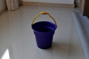 blue, plastic, bucket