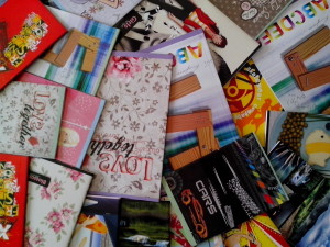 colorful, notebooks, students