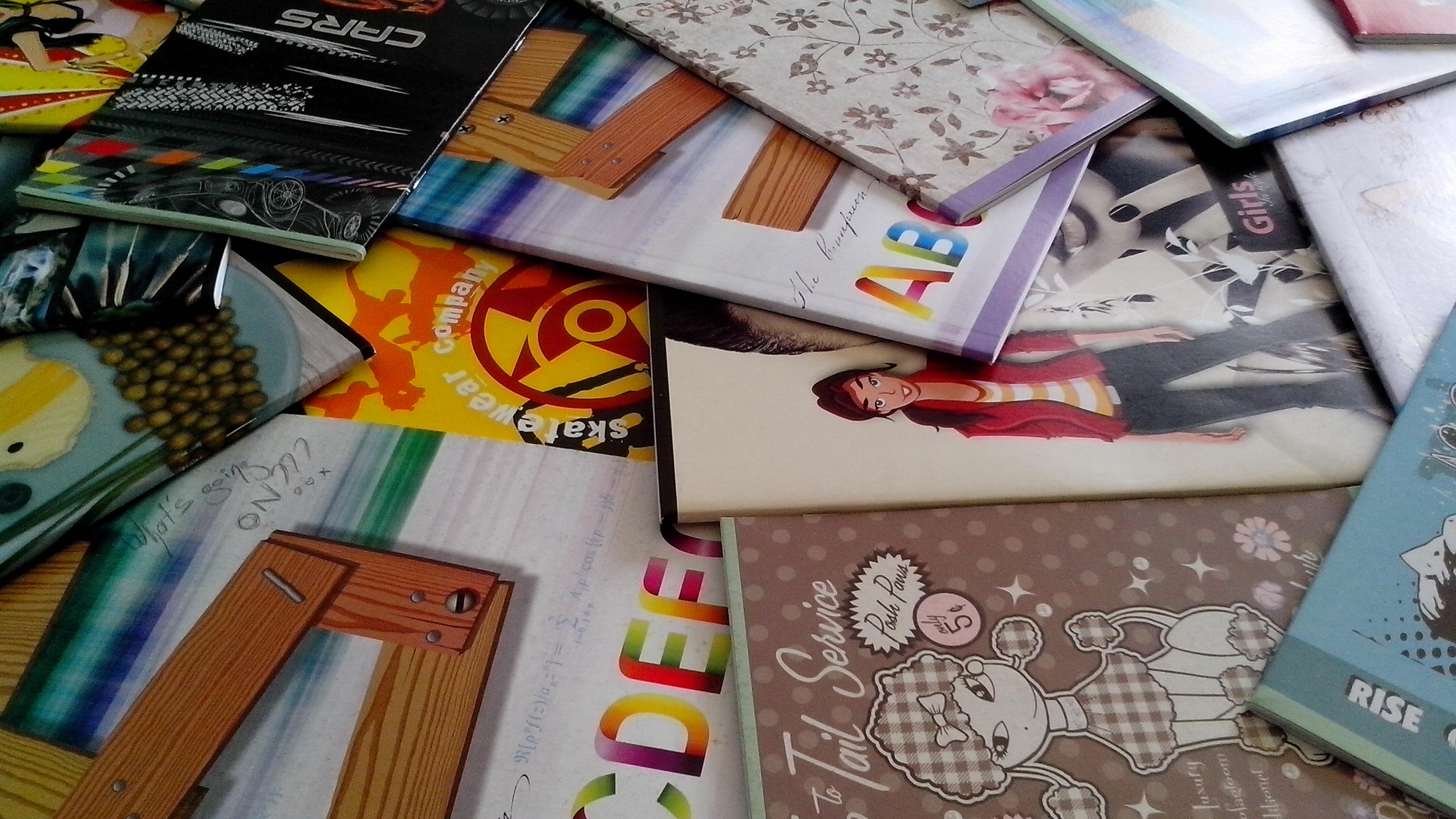 Free photograph; colorful, notebooks, students, elementary, school