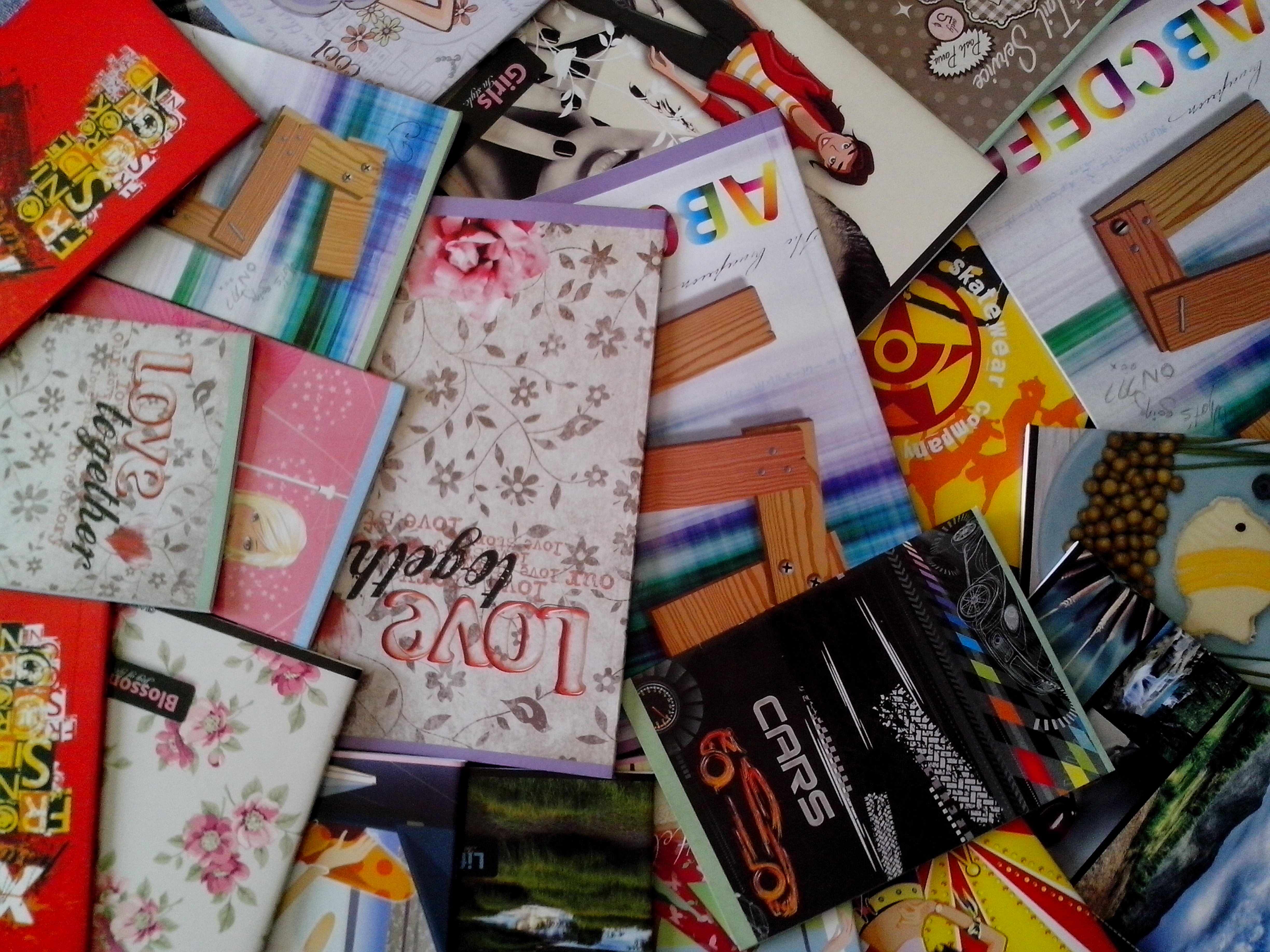 Free photograph; colorful, notebooks, students
