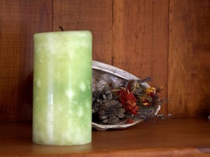 bougie, étagère, pinecones, substance, fond
