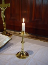 single, candle, brass, holder Johns, Lutheran