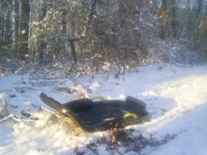 child, sled, snow