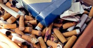 ashtray, filled, cigarette, butts, empty, cigarette, carton
