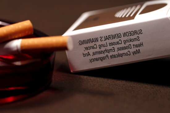 opened, pack, cigarettes, panel, health, warning, smokers
