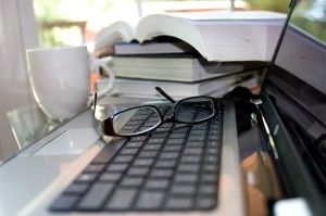 computer, keyboard, pair, reading, glasses