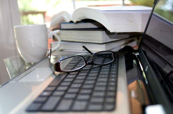 computer, keyboard, pair, reading, glasses