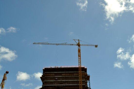 big, machinery, construction, crane, building