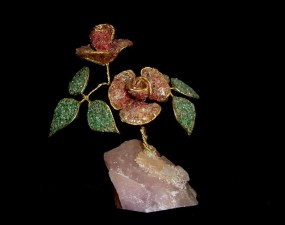 crystal, rose, dark, background