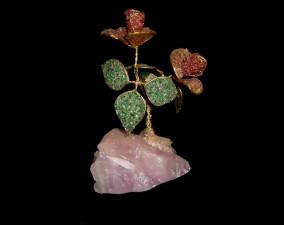 cristal, rose, objet