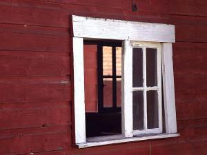granges, fenêtres, rouge