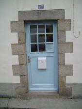 vieux, pierre, bleu, porte