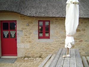 red, door, window