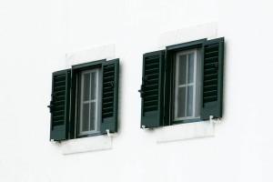 two, windows, white wall