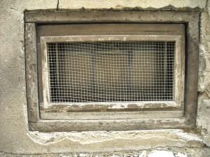 ventana, viejo, metal