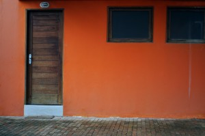 houten, deuren, ramen, huis, oranje, gevel