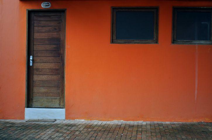 drvena, vrata, prozori, kuća, naranča, fasada