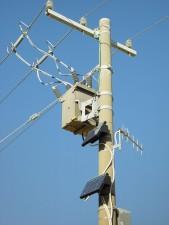 ocupados, potencia, poste, paneles solares,