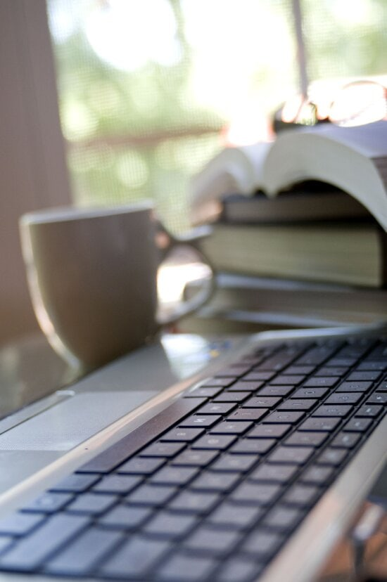 coffee, cup, background, computer, keyboard, foreground