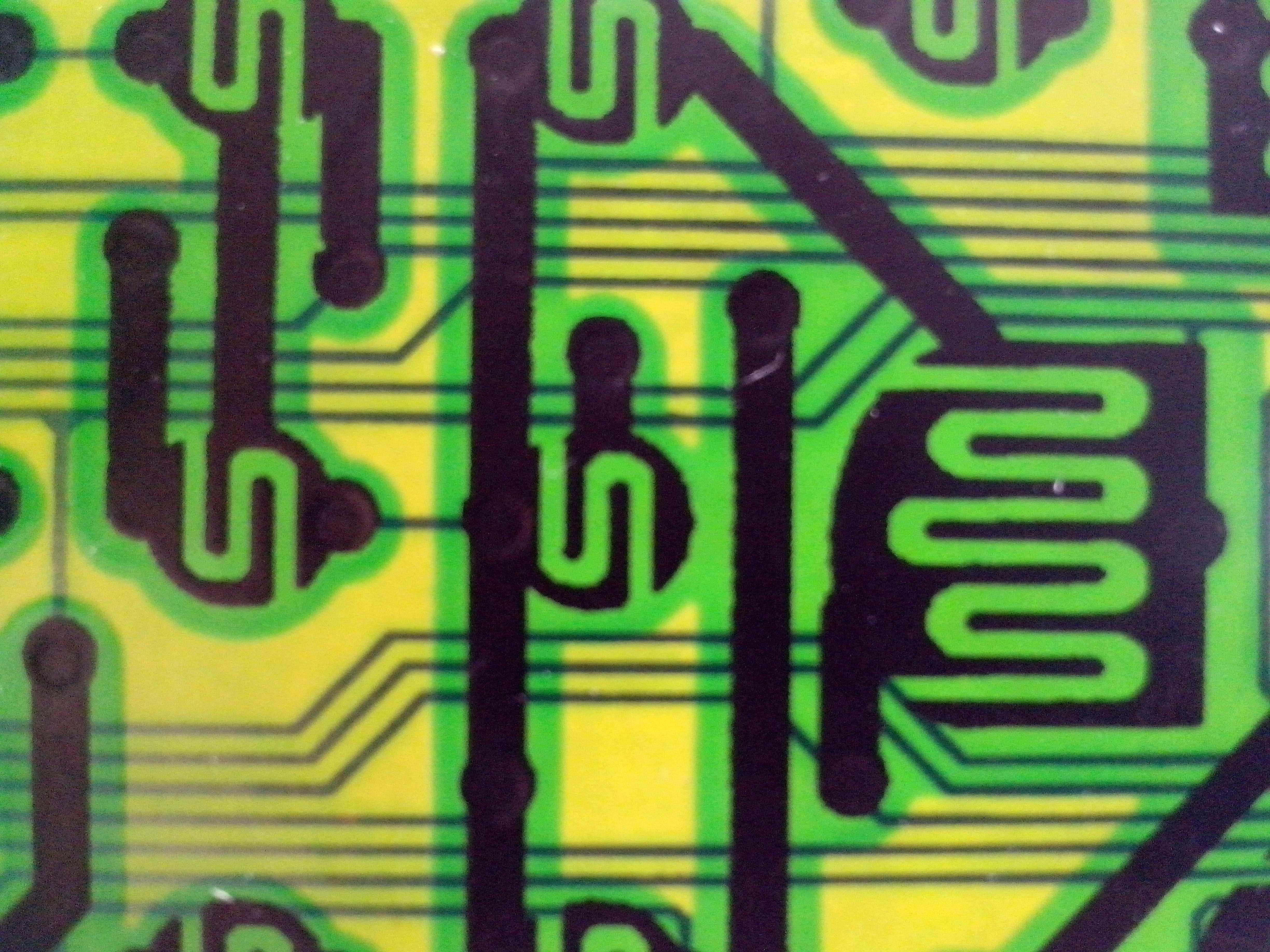 Free photograph; green, yellow, black, electronic, part, motherboard