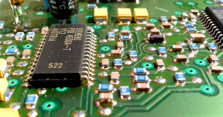 motherboard, conductors, chips