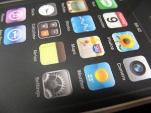 iphone, icônes, à proximité