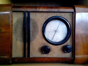 régi, fából készült, antik, rádió