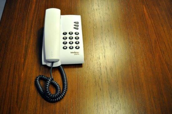plain, short plastic, landline, phone, buttons