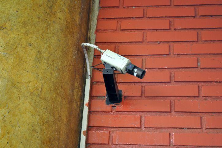 bezpieczeństwa, kamery, ściana, przechwytuje przechodniów