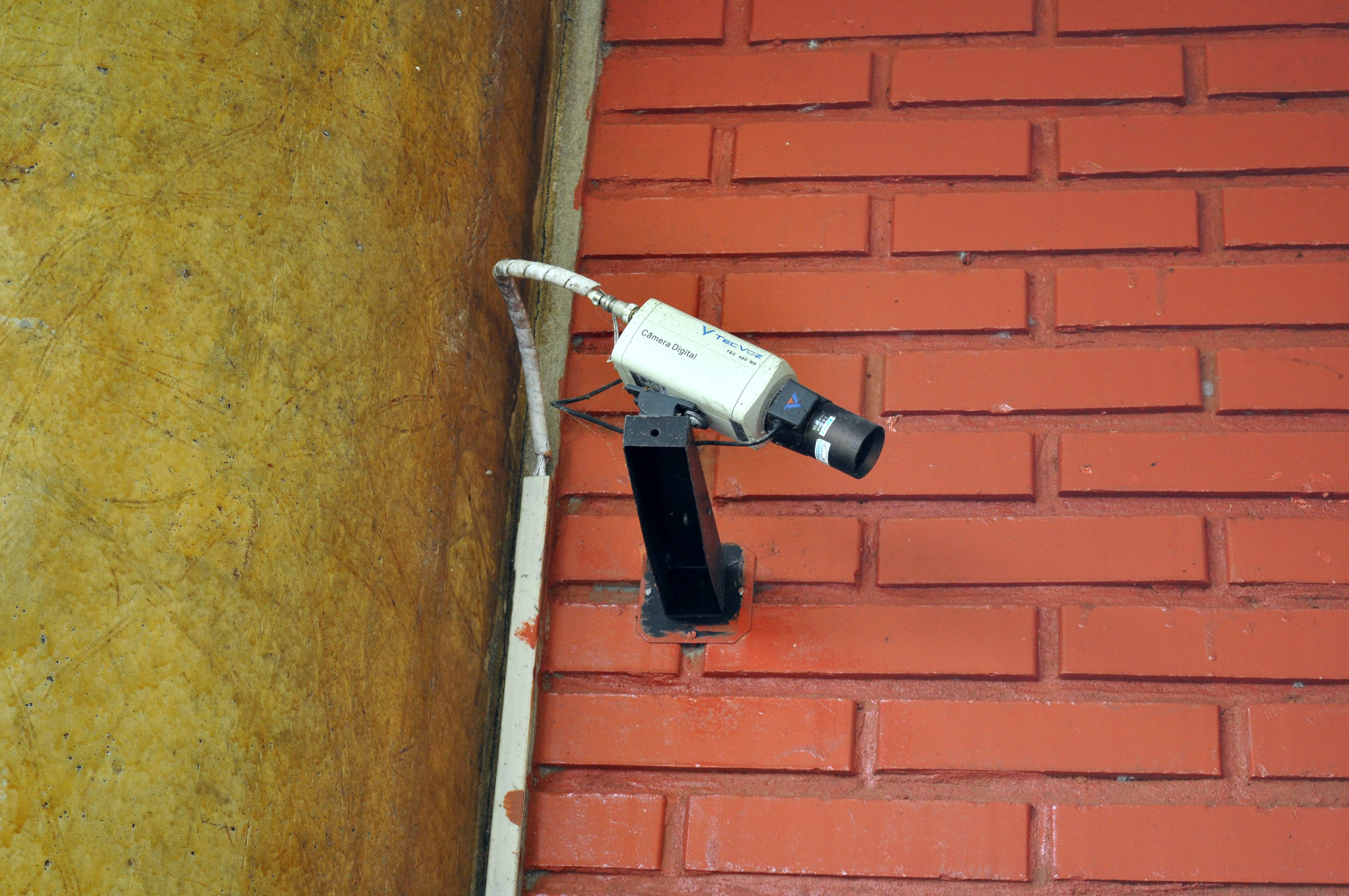 Free photograph; security, camera, wall, captures, passers