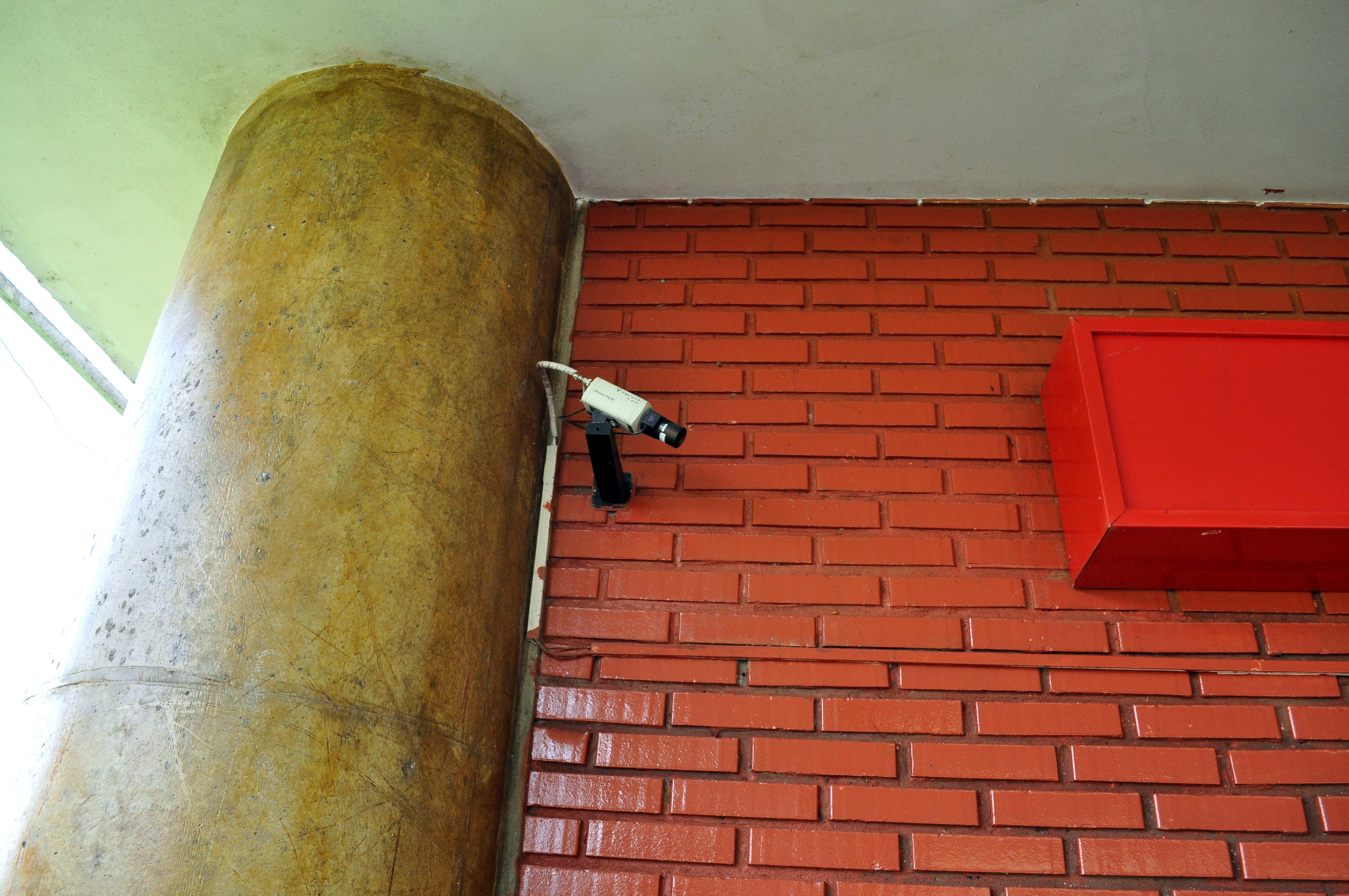 Free photograph; security, camera, wall