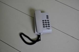 blanc, téléphone, noir, fil