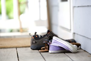 chaussures, devant, porche, devant, porte, fond