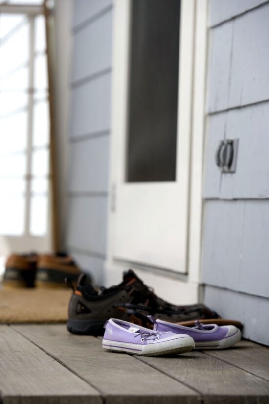 four, pairs, footwear, front, porch, track, particulates, house