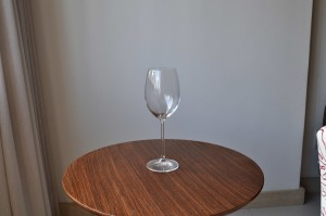 empty, vine, glass, wooden, table