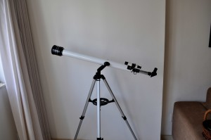 home, small, telescope, window