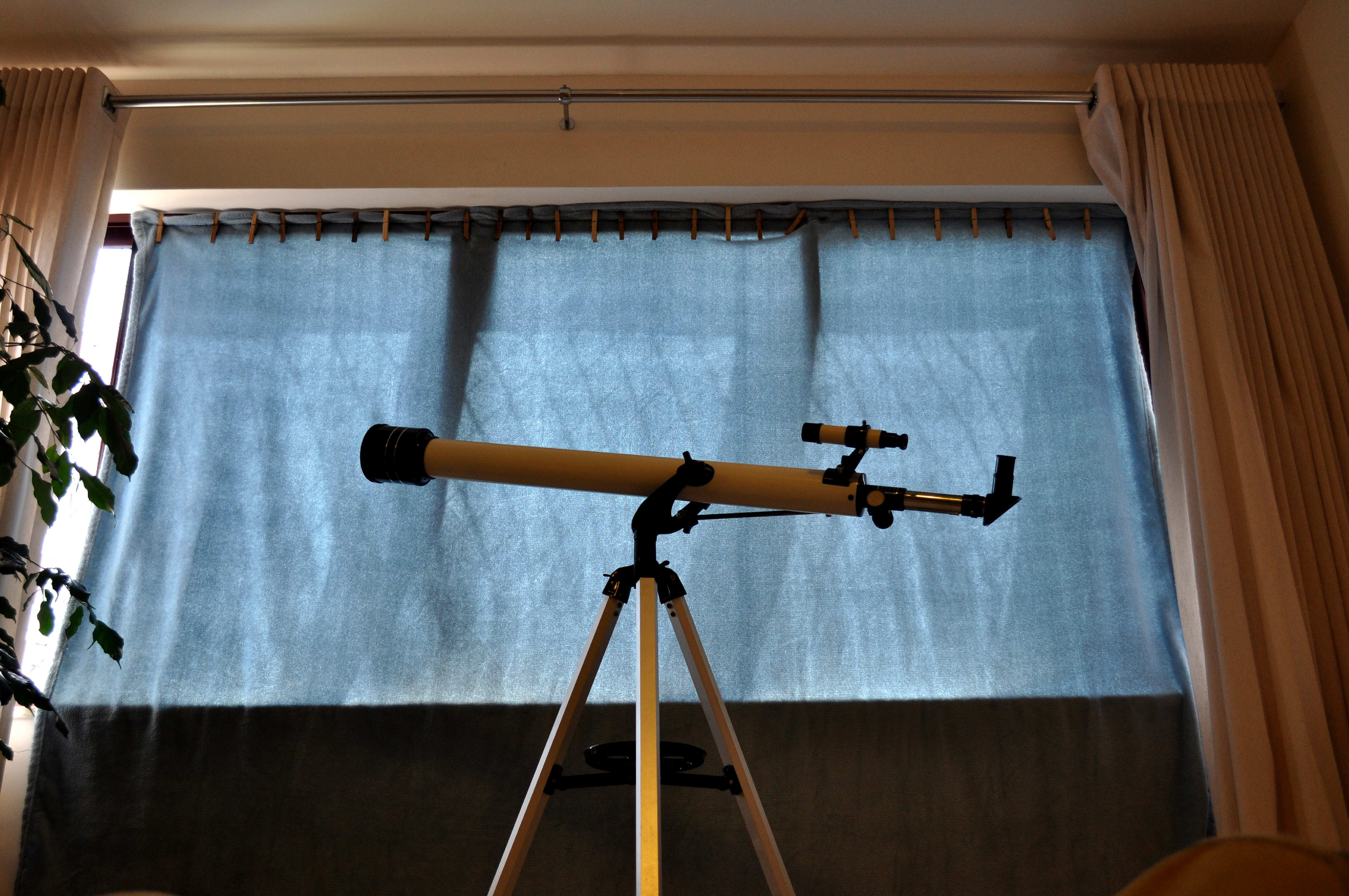 Free photograph; home, telescope, near, window