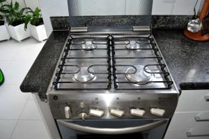 kitchen, stainless, steel, gas, stove