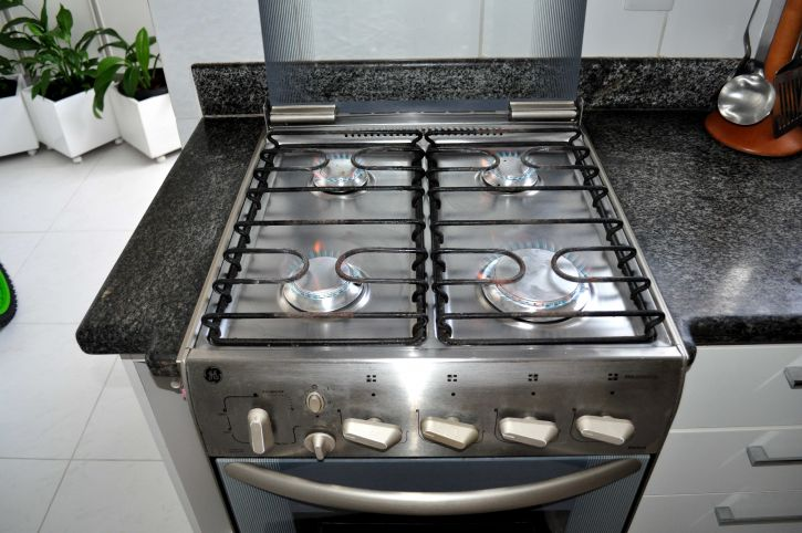cuisine, inoxydable, acier, gaz, poêle
