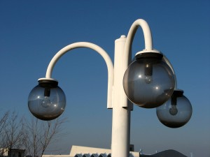 blanco, calle, lámpara