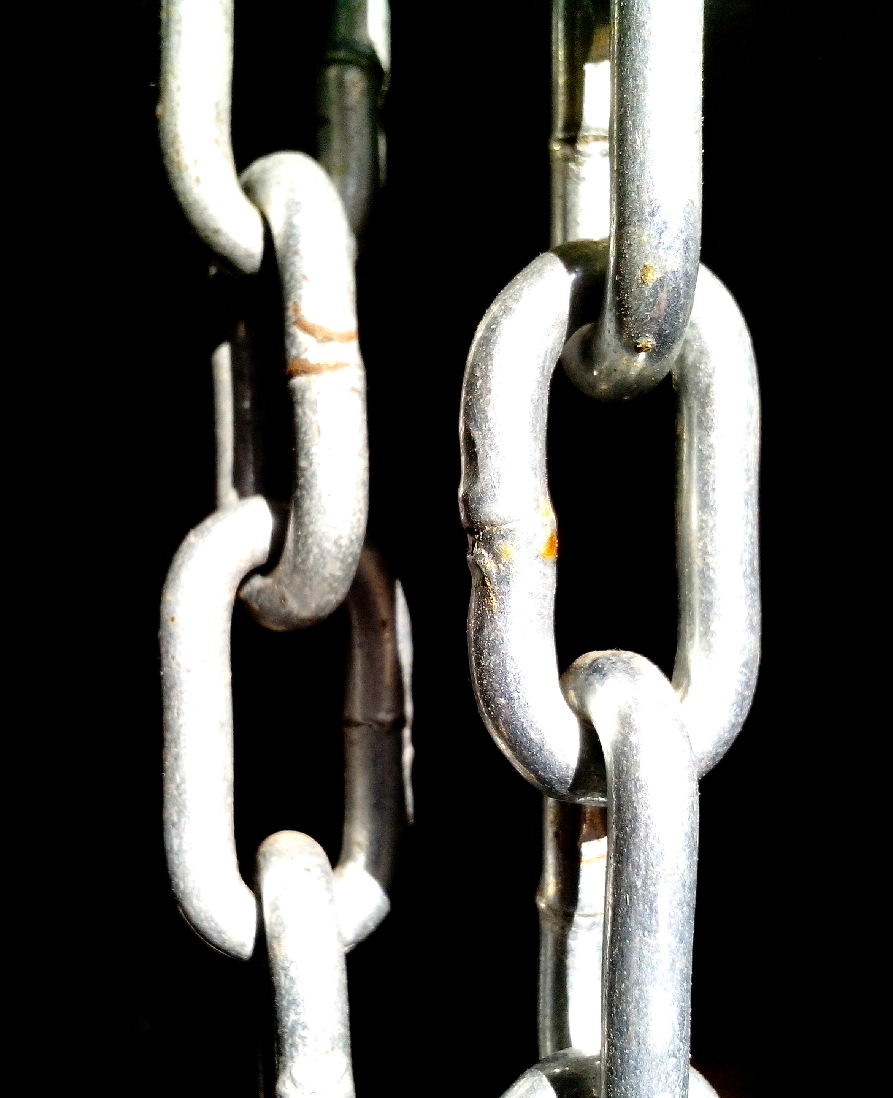 Free photograph; metal, chains, black, background