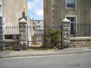 métal, porte, pierre, postes