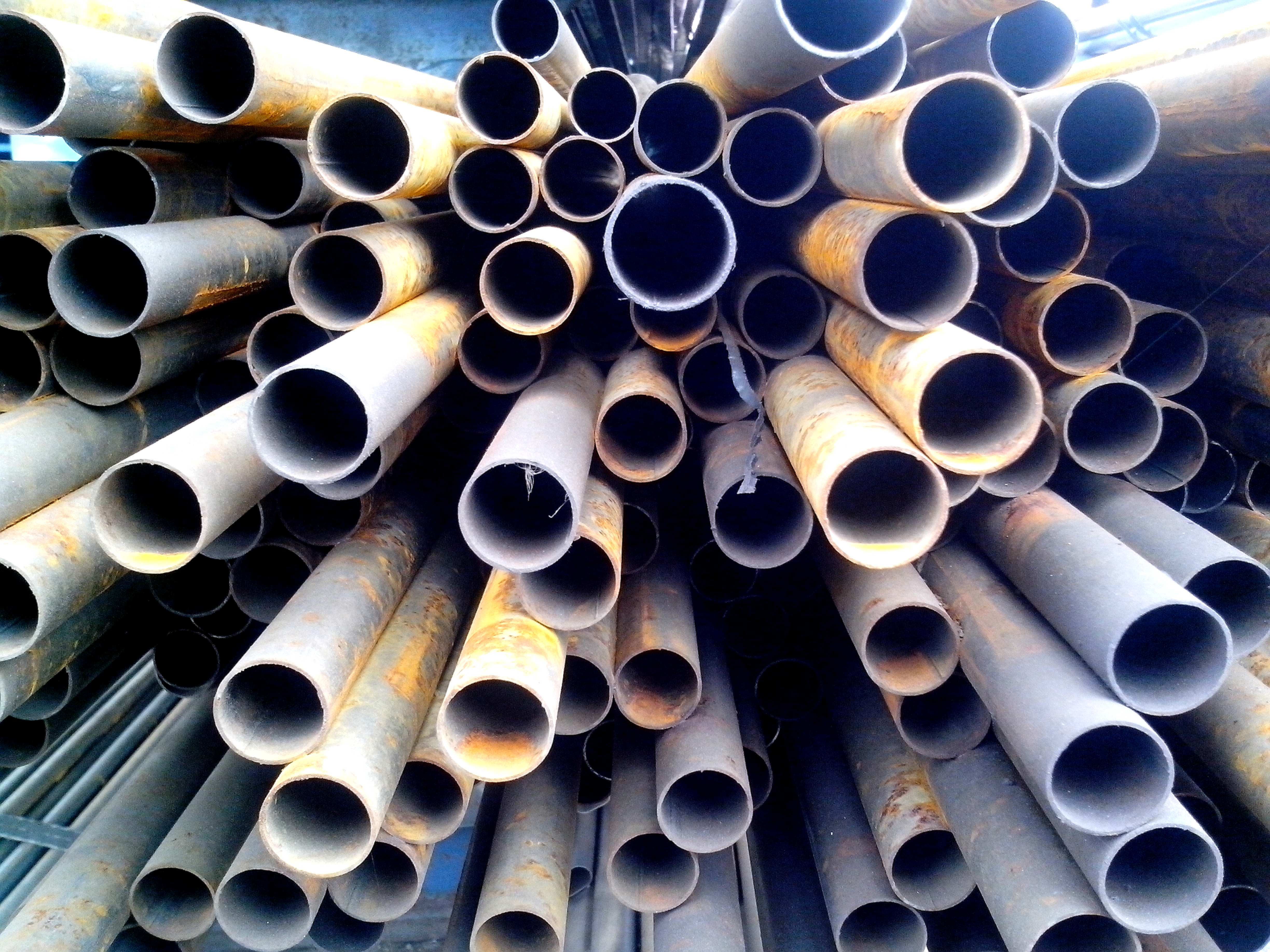 Free photograph; metal, round, pipes, stacked