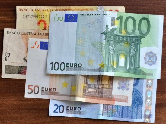 euro, banknotes, different, denominations