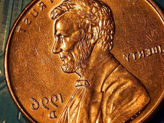 penny, cents, copper, Lincoln, coin, macro