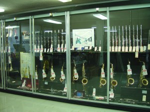 musical, instruments, display, cabinet