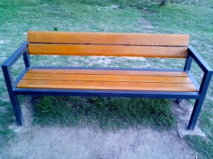new, wooden, bench, park