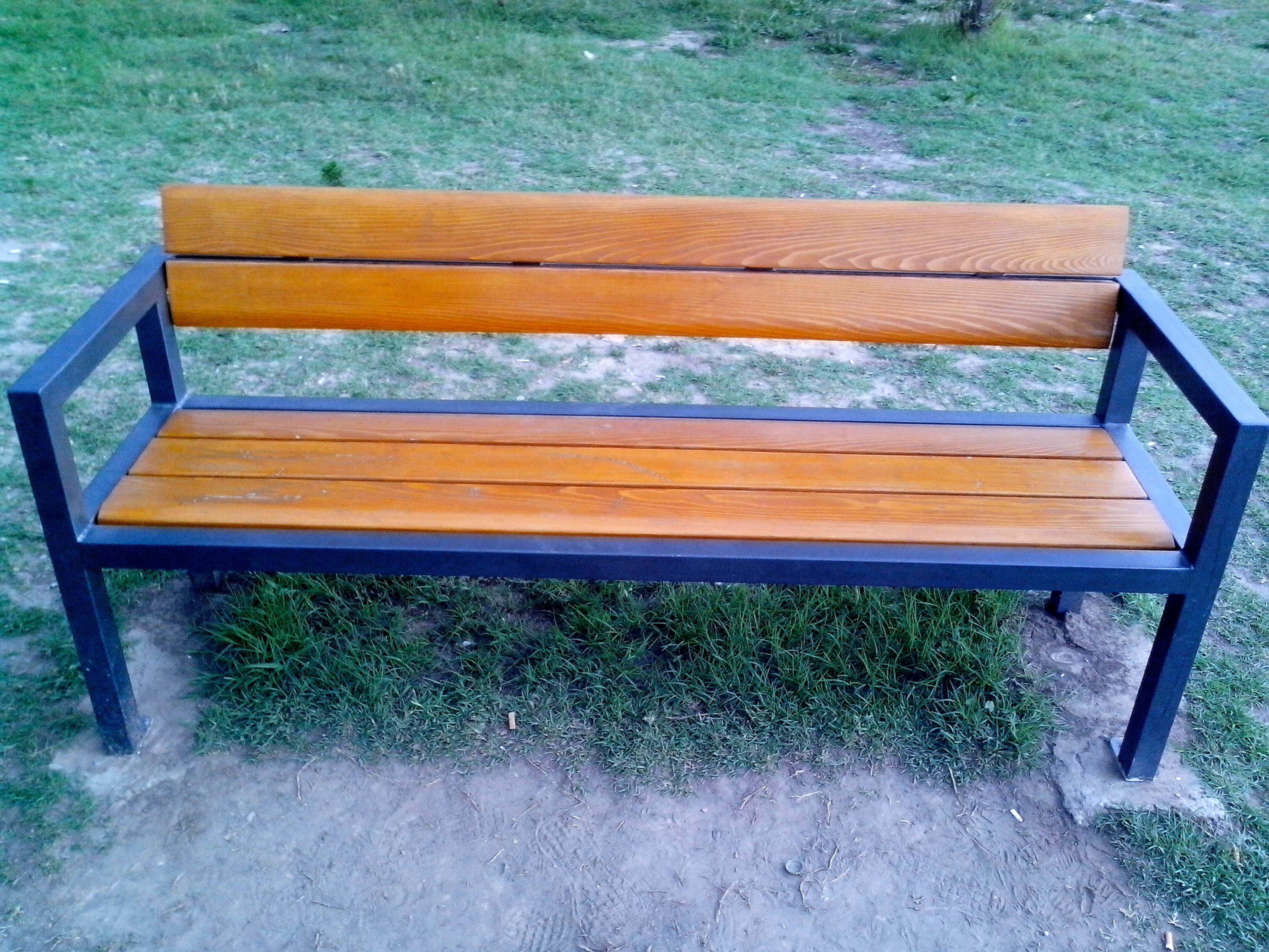 Free photograph; new, wooden, bench, park