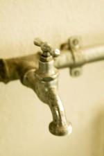 vechi, robinet, metal, apă, perete