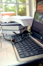 pair, eyeglasses, laptop, keyboard